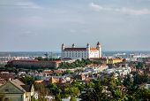 picture of reconstruction  - White Bratislava castle after reconstruction in sunset - JPG