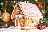 pic of gingerbread house  - gingerbread house over defocused lights of Chrismtas decorated fir tree