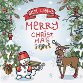 Christmas greeting card.Funny forest
