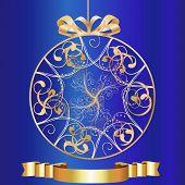 Artistic-Blue & Gold Ornament