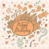 Fantastic Happy Birthday card in cartoon style. Bright floral background with hearts, stars and funny elements in vector