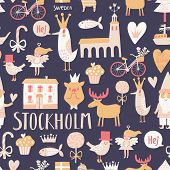 foto of gnome  - Stylish Stockholm concept seamless pattern in vector - JPG