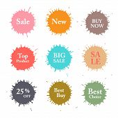 Business Colorful Vector Splashes Labels.