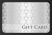 Exclusive Silver Gift Card With Damask Ornament
