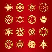 Collection Of 16 Golden Snowflakes