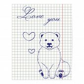 Illustration Of Notebook Sheet With Ink Drawing Bear And Hearts.