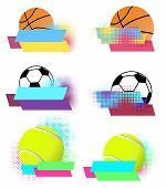 Sport balls vector banners set