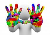 3D Watercolor Painted Coloful Hands Illustration.