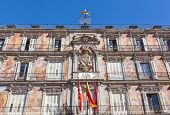 Facade of the old building on Plaza Mayor Madrid