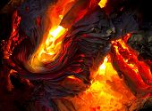 detail of burning paper
