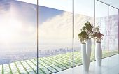 3D Rendering of Modern design flower pots against huge window