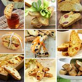 Set traditional Italian biscotti cookies in different variants