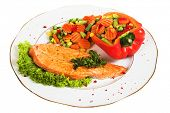 salmon with vegetable on white