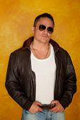 pic of bomber jacket  - Handsome Hispanic Man Wearing Vintage Pilot Bomber Jacket - JPG