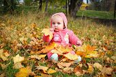 Little girl sitting on yellow autumn leaves