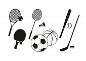 Постер, плакат: Hockey stick racket tennis baseball badminton