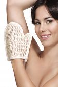 Beautiful Young Woman Applying Scrub Glove On Her Perfect Skin