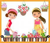 Pretty girls watering flowers