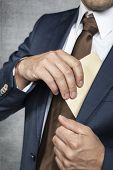 Businessman Hiding Bribes