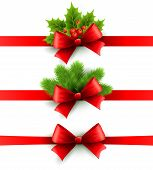 picture of ribbon bow  - Red holiday ribbon with bow Vector illustration - JPG