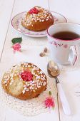 Sweet Breakfast In Pink: French Buns And A Cup Of Tea