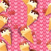 Seamless Pattern With Vanilla Ice Cream Cones With Chocolate And Strawberry Glaze And Cherry Berries