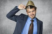 Handsome Businessman Assumes Hat Party Animal
