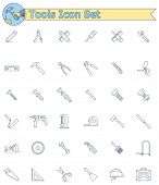 Set of the working tools icons