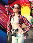 Summer Street Fashion Photo, Stylish Pretty Woman Model In Sunglasses With Vintage Camera Posing In