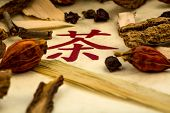 ingredients for a cup of tea in the traditional chinese medicine. cure of diseases by alternative methods.