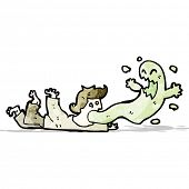 cartoon ghost leaving man