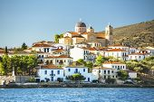 Buildings and the temple of a Greek harbor Galaxidi in Greece.