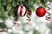 pic of adornment  - Closeup on Christmas tree decoration over festive background - JPG