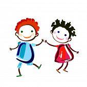 happy girl and boy dancing