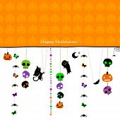 halloween card with hanging cat, ghost, spiders, skulls and other elements