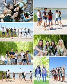 Collage of friends at beach