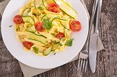 italian pasta, tagliatelle cooked with vegetables