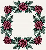 Vintage Composition For Border With Roses