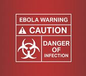 Digitally generated Ebola warming sign vector with text and symbols