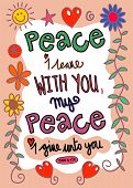 picture of peace  - Hand drawn doodle scripture text which says - JPG