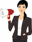 Illustration Featuring a Businesswoman Holding a Megaphone