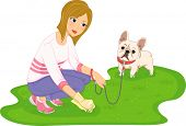 Illustration Featuring a Woman Cleaning After Her Dog