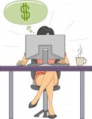 Illustration Featuring a Woman Earning Dollars From Her Online Job