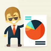 Smiling businesspeople shows good statistics.