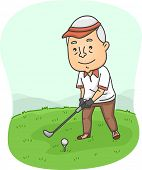 Illustration Featuring an Elderly Male Playing Golf