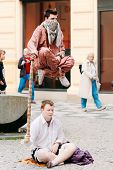 Street Performers, Levitation Man In Center Of Prague.