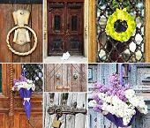 Collage of old vintage doors