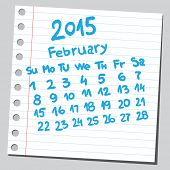 Calendar 2015 february (sketch style)