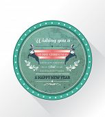 Digitally generated Christmas greeting badge with illustrations