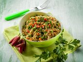 oat with peas carrots and hot chili pepper